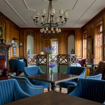 Bright blue chairs in the Lounge of the Four Seasons Hotel, Hampshire