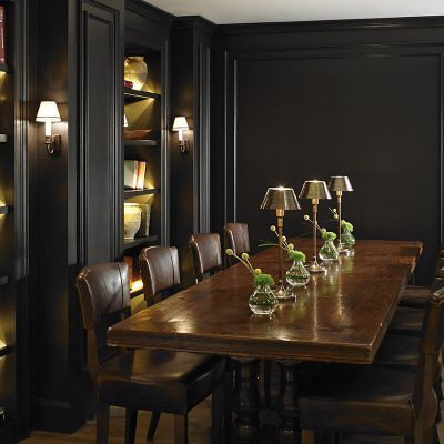 8 seater dark oak dining table in the Executive Lounge of the London Marriott Hotel – Park Lane, London