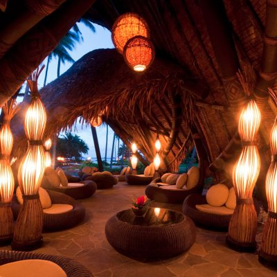 Inside a bamboo covered outdoor lounge at the Laucala Island Resort – Fiji