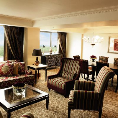 Royal Suite Lounge with sofas and a dining table in the Intercontinental Hotel Park Lane, London